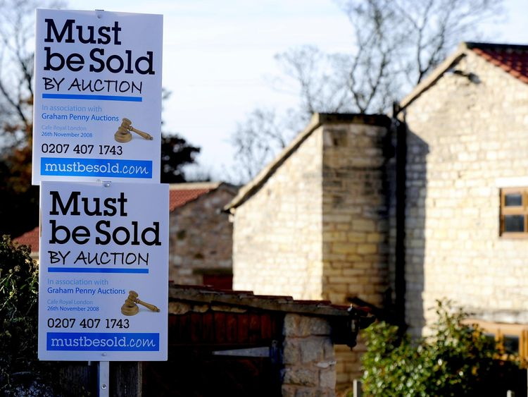 Residential property auction signs, near Leeds in 2008