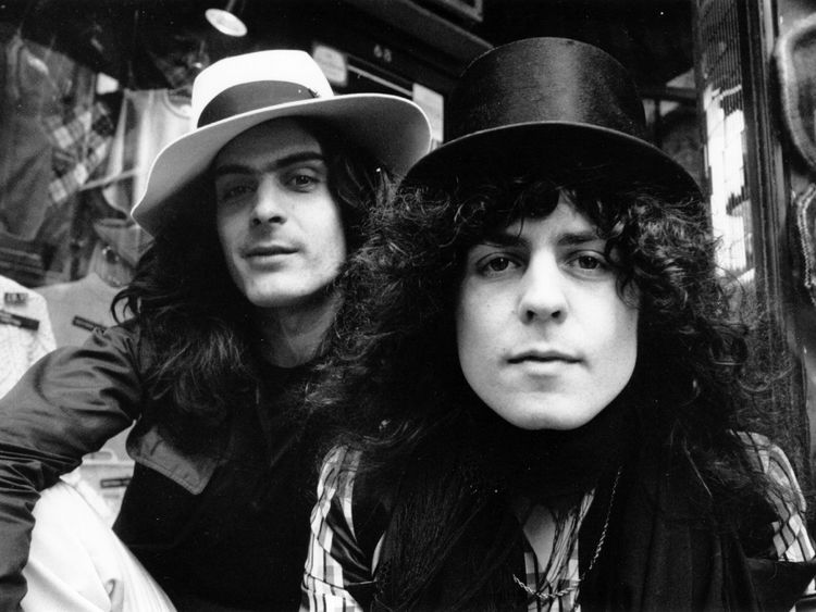 T Rex percussionist Mickey Finn with singer, songwriter and guitarist Marc Bolan