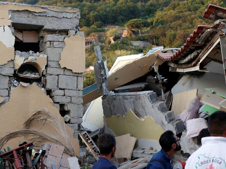Collapsed houses are seen after an earthquake hits the island of Ischia, off the coast of Naples, Italy August 22, 2017