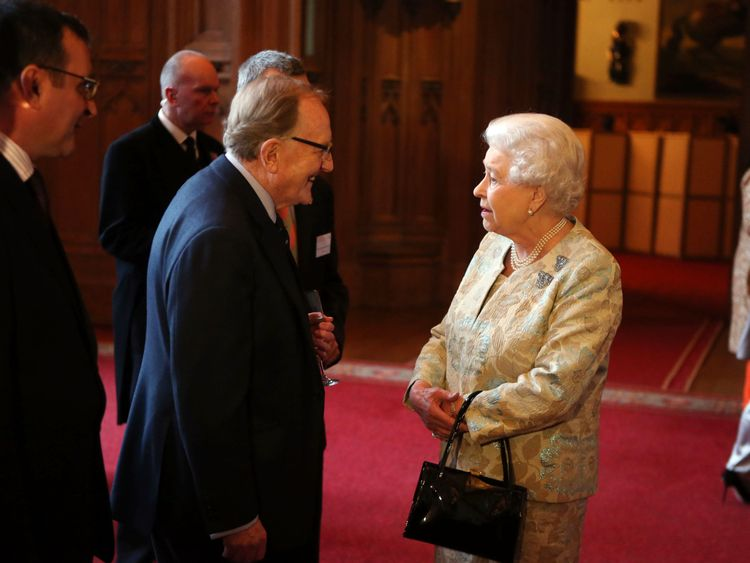 Robert Hardy and the Queen at a reception for the British Film Industry at Windsor Castle in 2013