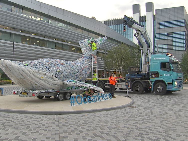 Sky Ocean Rescue's Plasticus whale returns to the Sky campus after a nation-wide tour