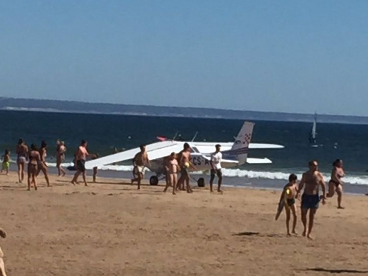 Photographs shared on social media show the plane in the sea. Pic: @omalestafeito