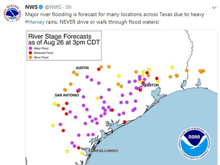 The National Weather Service (NWS) is predicting major river flooding