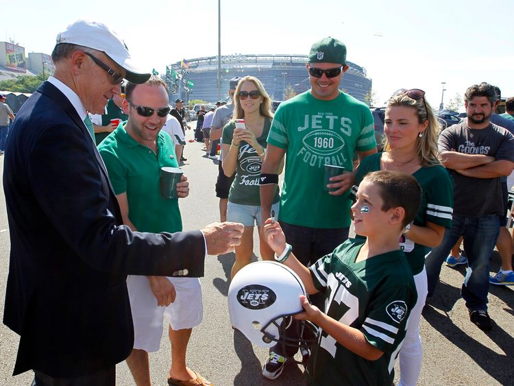 New York Jets owner Woody Johnson meets fans outside MetLife Stadium