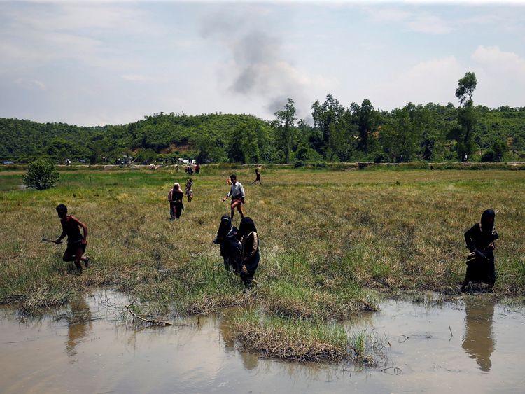 Rohingya refugees are fleeing to Bangladesh from Myanmar
