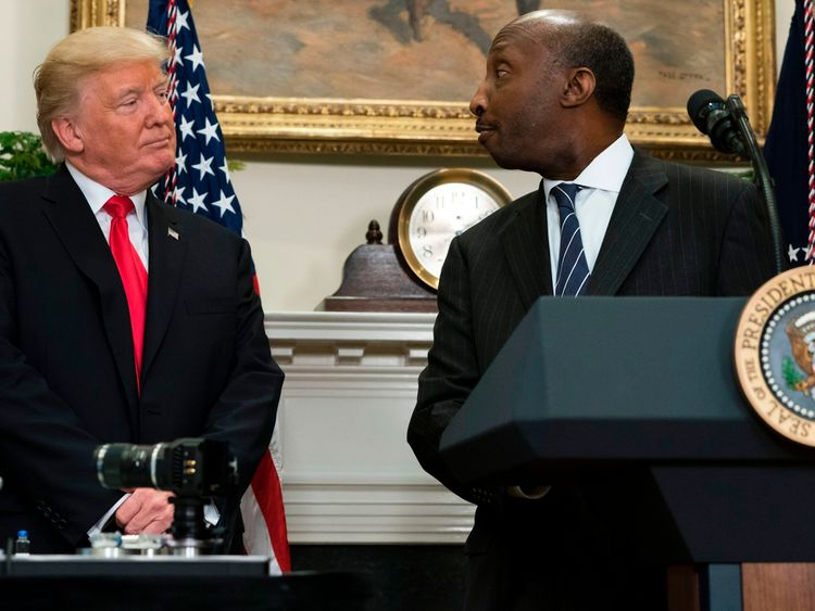 Donald Trump and Ken Frazier at the White House on July 20, 2017