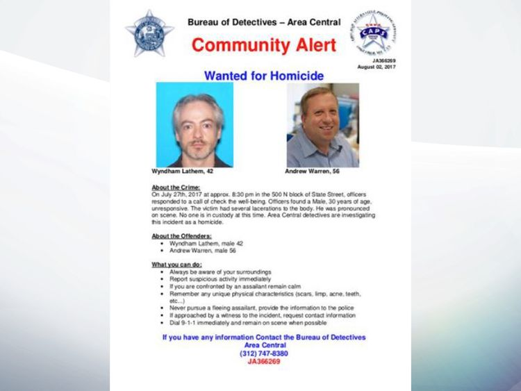 A wanted poster for Lathem and Warren put out by police in Chicago