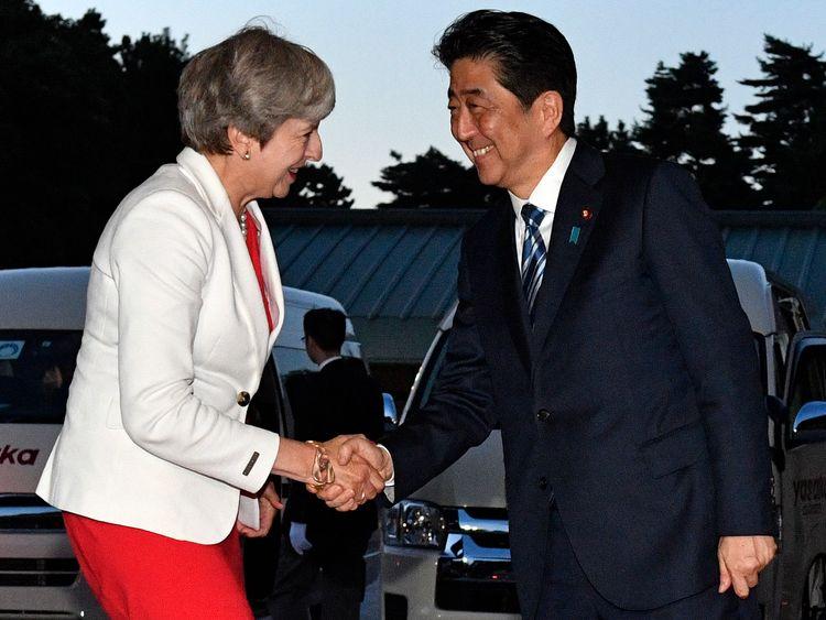 Theresa May and Japanese PM Shinzo Abe