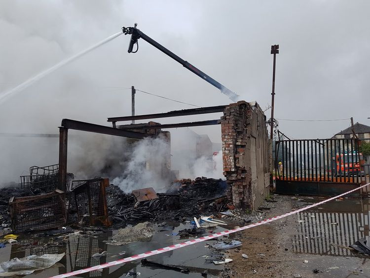 Fire services used new equipment to stop the fire spreading. Pic: @Blackburn_Fire