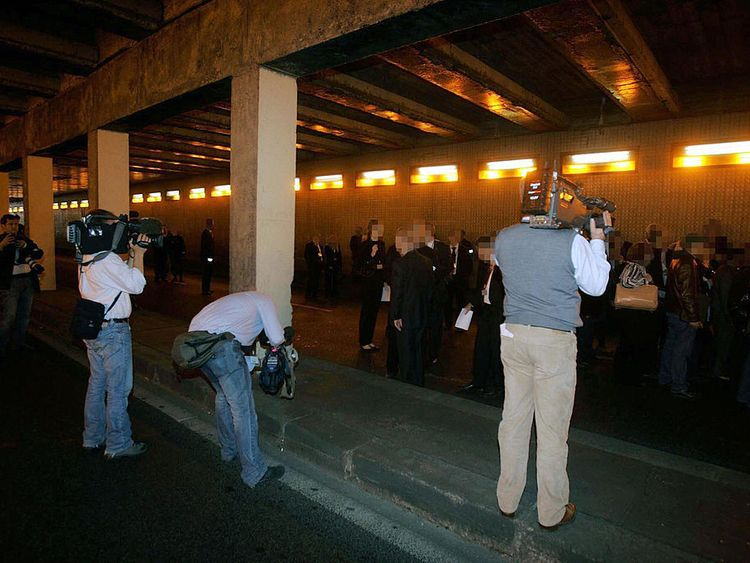 The jury visit the scene of the crash as part of the British inquiry in 2007