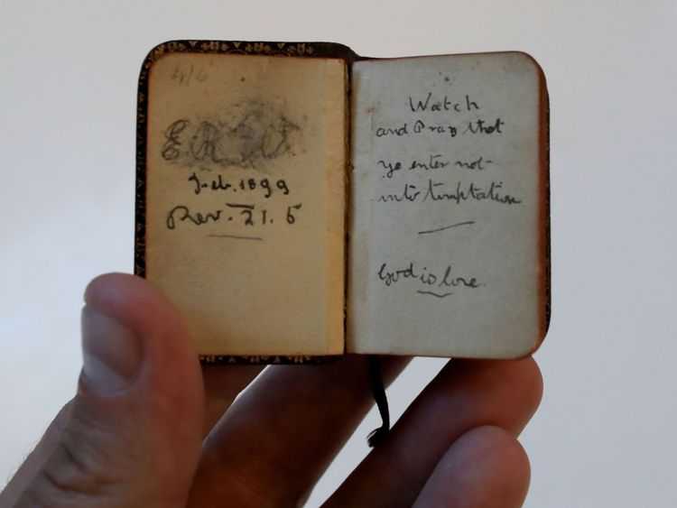 A miniature bible, dated 1899 and with the initials ER (believed to stand for Eleanor Rigby) written inside
