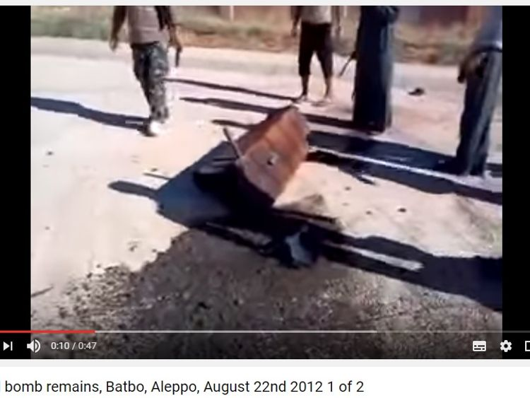 A video on YouTube showing the remains of what appears to be a barrel bomb in Syria