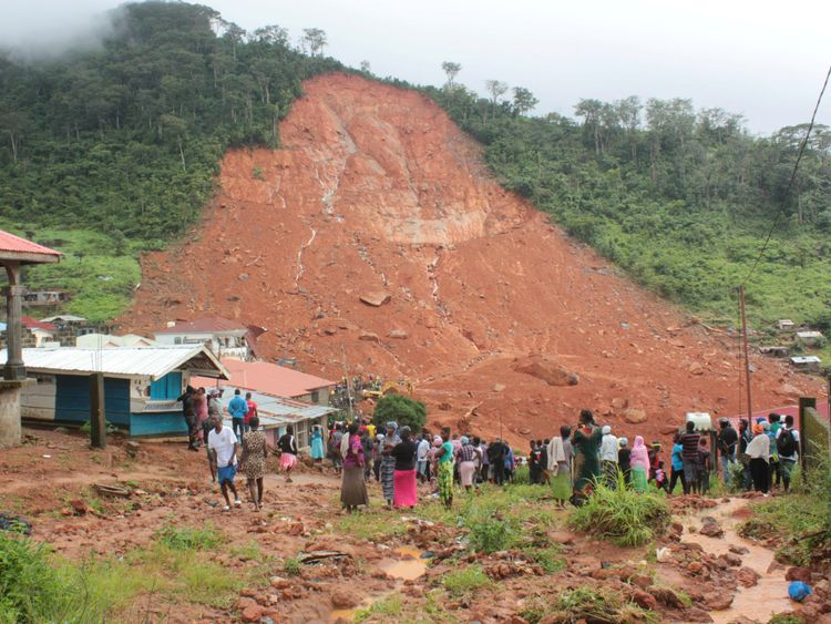 The mudslide in the mountain town of Regent, Sierra Leone