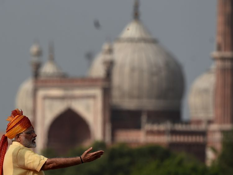 Indian Prime Minister Narendra Modi delivers his speech at the Red Fort