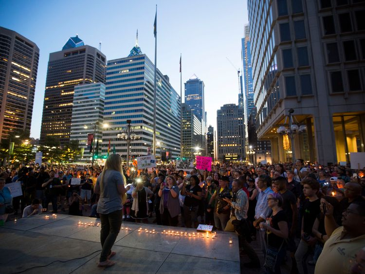 A vigil is held in downtown Philadelphia on August 13, 2017 in support of the victims of violence at the 'Unite the Right' rally In Charlottesville, Virginia this weekend. Vigils are being held across the country following clashes between white supremacists and counter-protestors in Charlottesville, Virginia on Saturday, August 12th. Heather Heyer, 32, was killed in Charlottesville