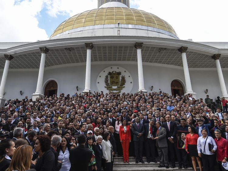 Members of the new assembly in Caracas