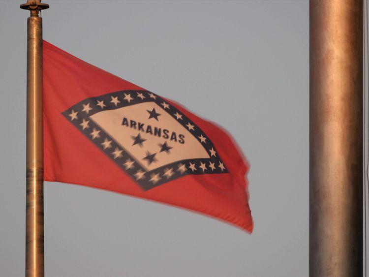 Arkansas flag near the KKK HQ in Harrison
