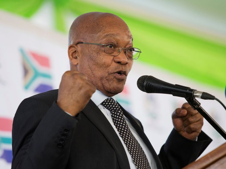 South African President Jacob Zuma speaks at a memorial lecture