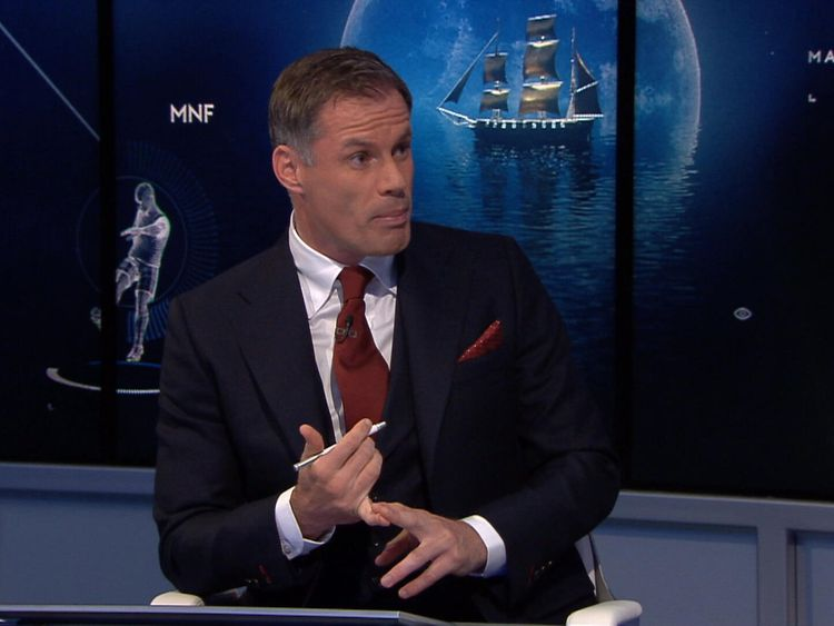 Sky Sports pundit Jamie Carragher speaking on Monday Night Football