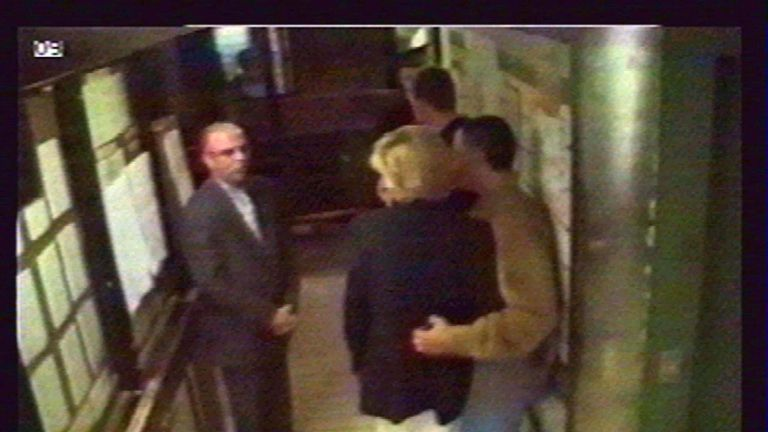 Diana and Dodi talking to Henri Paul moments before they left the hotel