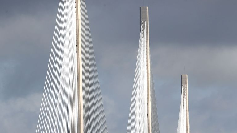 Morning traffic on the new Queensferry Crossing on the first day of operational use