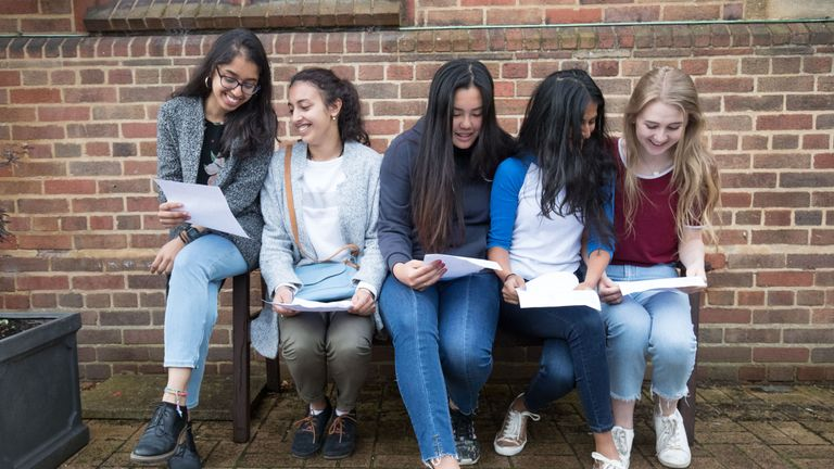 Teenagers receive their A Level results in Birmingham