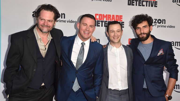 HOLLYWOOD, CA - AUGUST 03: Actors Florin Piersic Jr. Channing Tatum, Joseph Gordon-Levitt and Cornilieu Ulici attend the premiere of Amazon's 'Comrade Detective' at ArcLight Hollywood on August 3, 2017 in Hollywood, California. (Photo by Alberto E. Rodriguez/Getty Images)