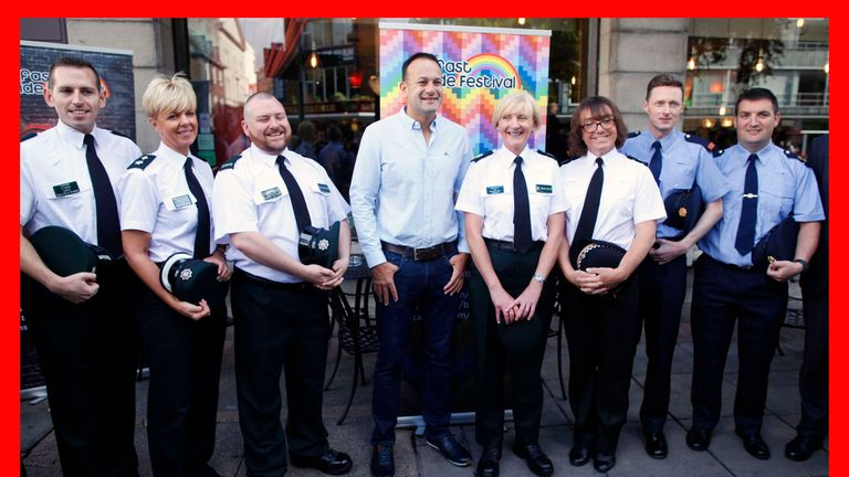 PABest Taoiseach Leo Varadkar meets members of the PSNI and Garda representative of the Gay community as he arrives for a Gay Pride breakfast meeting at the Northern Whig bar in Belfast. PRESS ASSOCIATION Photo. Picture date: Saturday August 5, 2017. The Irish Prime Minister is on a two day visit to Northern Ireland. See PA story ULSTER Pride. Photo credit should read: Peter Morrison/PA Wire