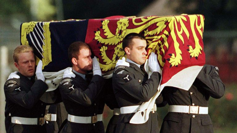 Diana's coffin arrived at RAF Northolt draped with the Royal Standard - against royal protocol