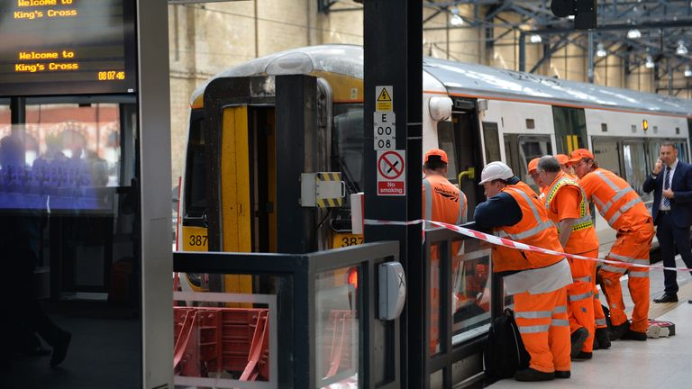 Two people suffered minor injuries after a train hit the buffers at King's Cross