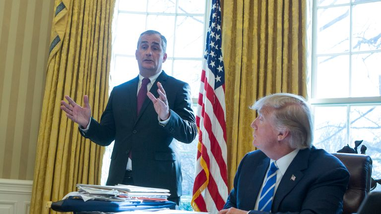 Brian Krzanich meets with Donald Trump at the White House in February
