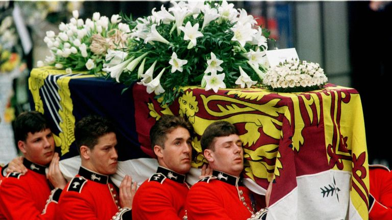 Diana's coffin is carried into Westminster Abbey