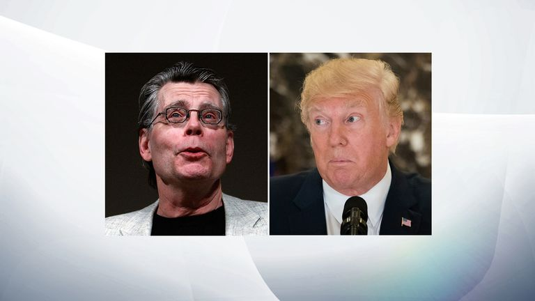 Stephen King (L) and Donald Trump