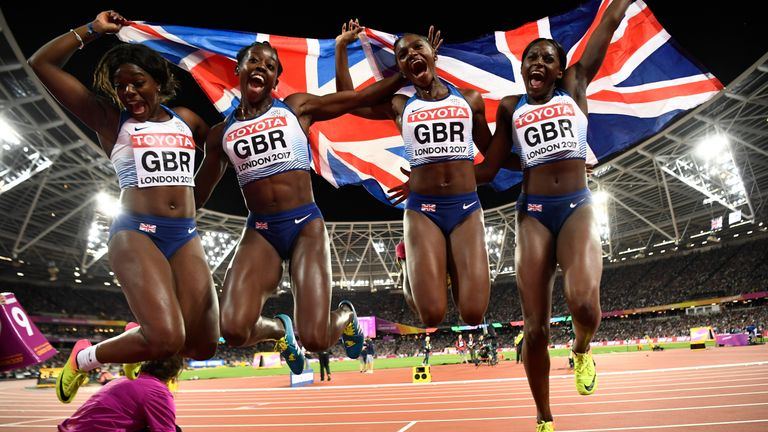 Asha Philip, Desiree Henry, Dina Asher-Smith and Daryll Neita of Great Britain