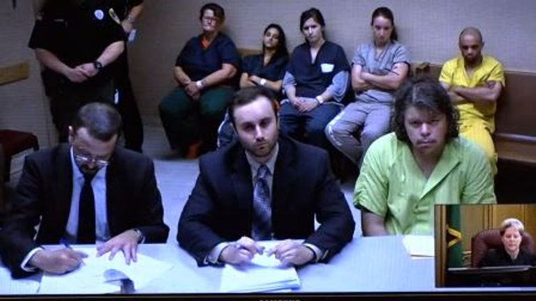 Jeremy Lindholm appears in court in Spokane on Thursday. Pic: KREM 2 News