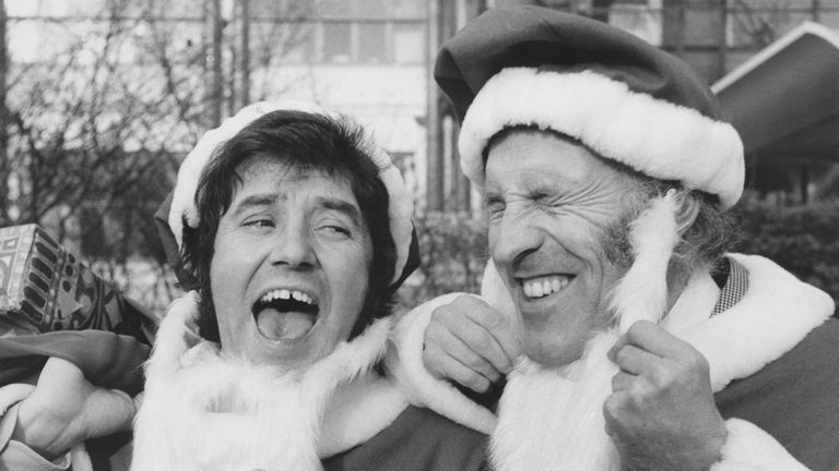 Jimmy Tarbuck Sir Forsyth dress up in Santa outfits in the Christmas of 1970