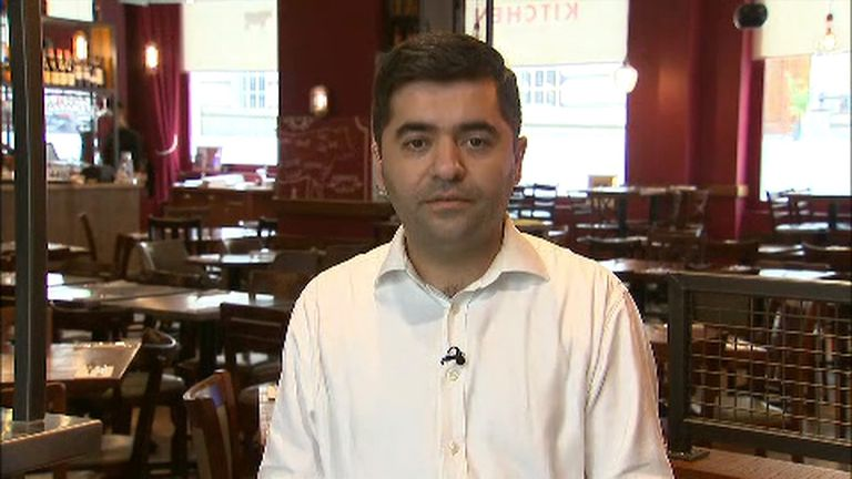 Restaurant owner Ibrahim speaking to Sky News on immigration.