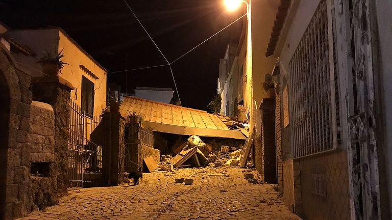 An earthquake hit the popular Italian tourist island of Ischia, off the coast of Naples, causing several buildings to collapse on August 21, 2017. A 3.6 magnitude earthquake struck Ischia on Monday, prompting destruction that left at least one dead and seven missing at peak tourist season. / AFP PHOTO / Gaetano Di Meglio (Photo credit should read GAETANO DI MEGLIO/AFP/Getty Images)