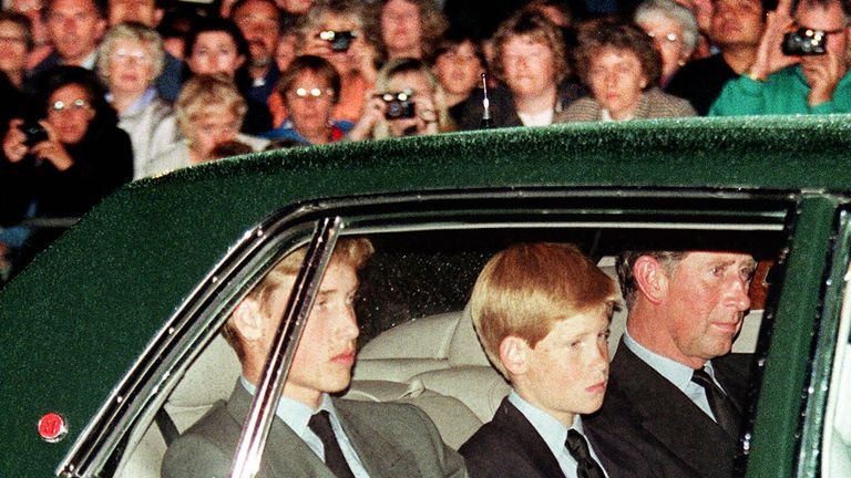 Prince Charles, Prince William and Prince Harry on the eve of Diana's funeral