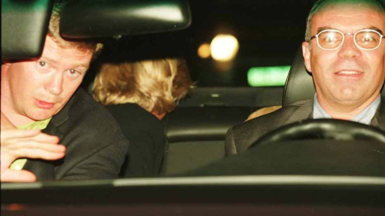 Diana's bodyguard, Trevor Rees-Jones and the back of Diana's head and driver Henri Paul