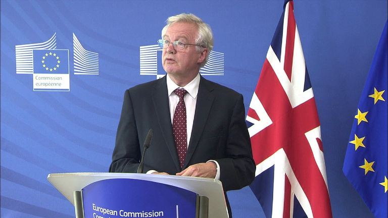 David Davis talks to the gathered media in Brussels as Brexit talks resume