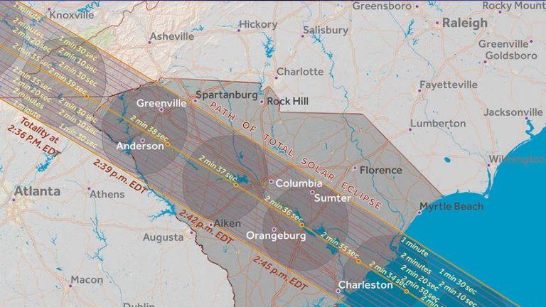 South Carolina. Pic: Great American Eclipse