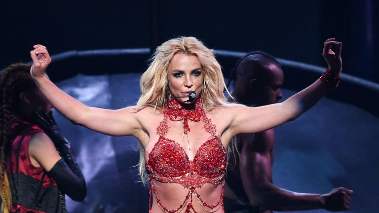 Britney Spears performing in Las Vegas in 2016