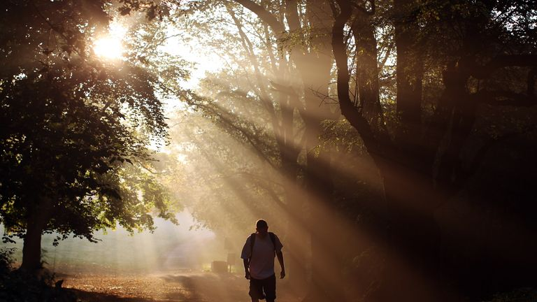 A man walks through the early morning mist on Hampstead Heath on September 30, 2011 in London, England. Much of the UK is enjoying a spell of unseasonably hot weather