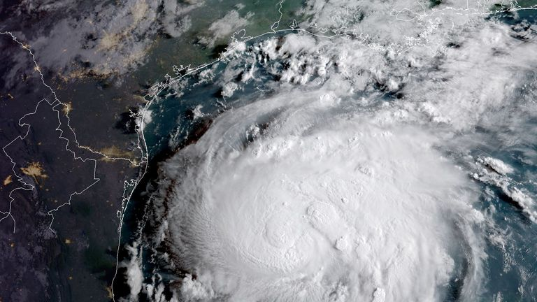 Hurricane Harvey in the Texas Gulf Coast on 24 August