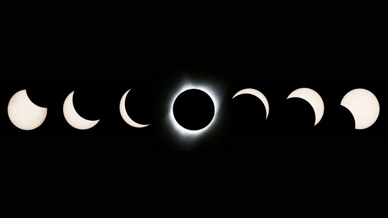The seven phases of the eclipse