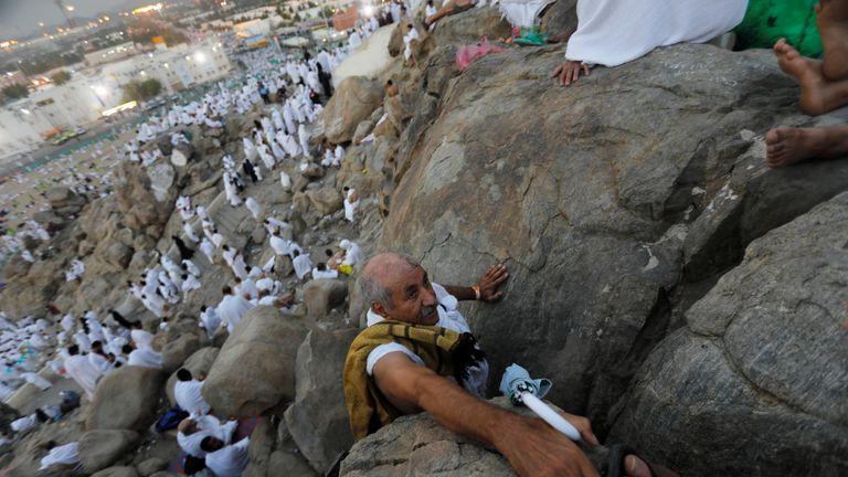 Muslim pilgrims gather on Mount Mercy on the plains of Arafat