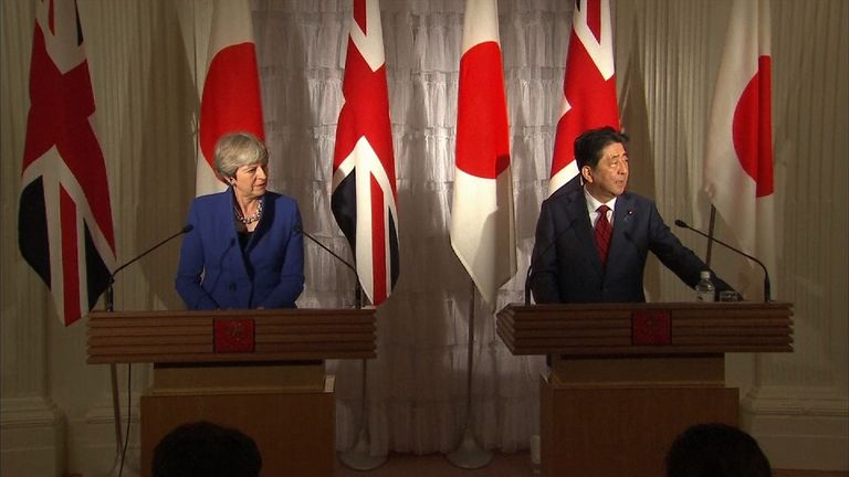 Theresa May and Japan's Prime Minister Shinzo Abe