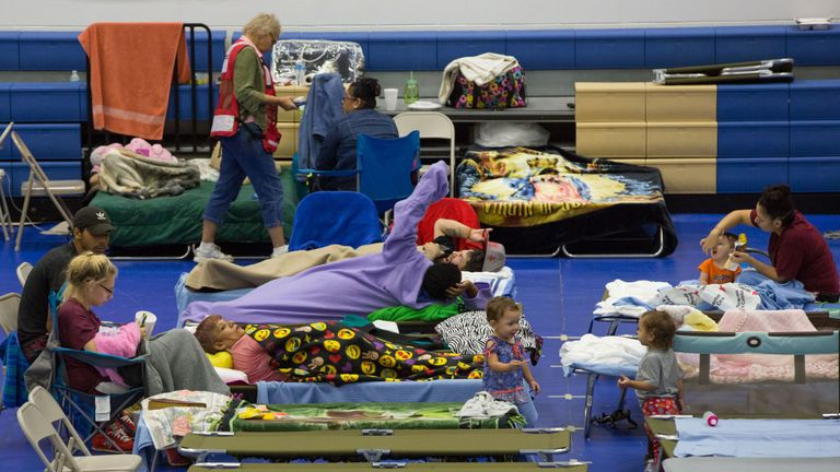 People in a shelter in Texas as Hurricane Harvey strikes