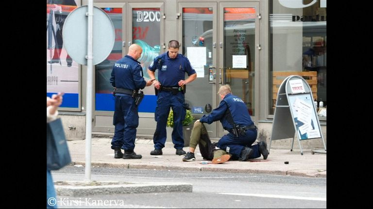 The suspect was shot in the leg by police and arrested Pic: KIRSI KANERVA